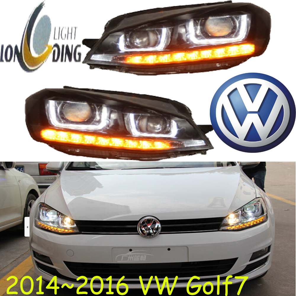 Car-styling! golf7 headlight,2014~2016,free ship!chrome,golf7 fog light,chrome,led,2ps+2pcs aozoom ba