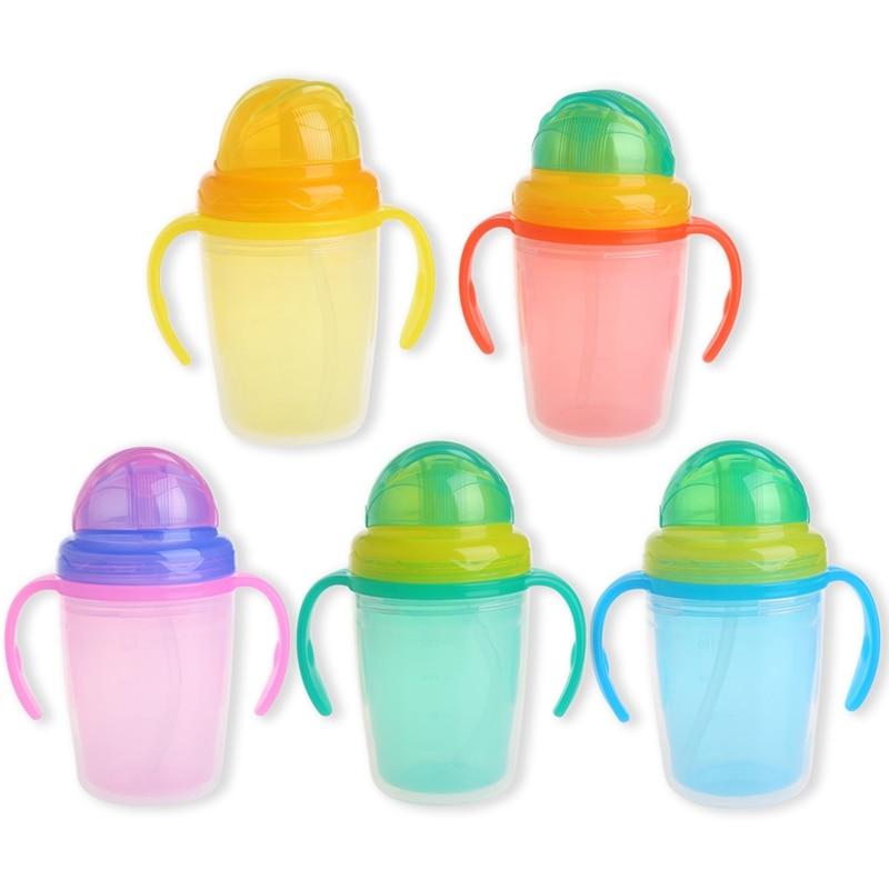 2017 Cute Baby Straw Cup Infant Newborn Bottle Children Learn Feeding Drinking 230ml APR7_30