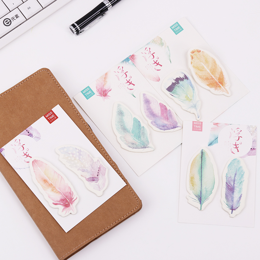 4PCS Rainbow Feather Sticky Note Post It Planner Sticker Mems
