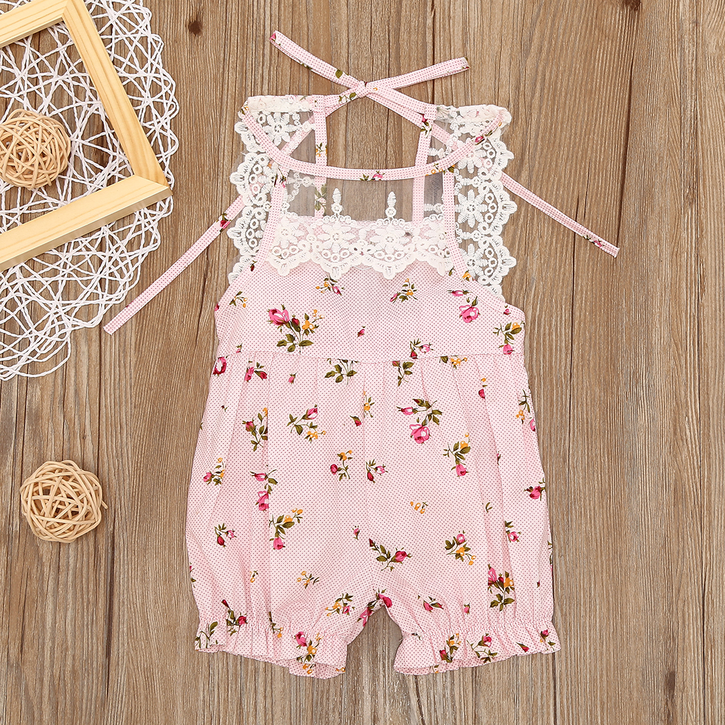 2017 Floral Newborn Infant playsuit Jumpsuits Pink Cotton Sleeveless Bow Lace Baby Girls Romper Jumpsuit Outfit Sunsuit Clothes