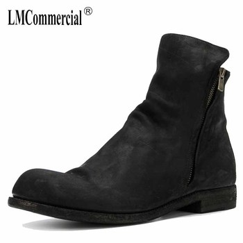 men leather Riding Boots Black low boots European version of Shoes autumn winter British retro men shoes zipper breathable