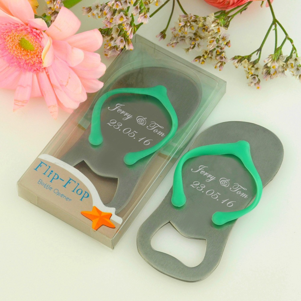 100pcs customized wedding favor and gift personalized wedding souvenirs for guests flip flop bottle opener