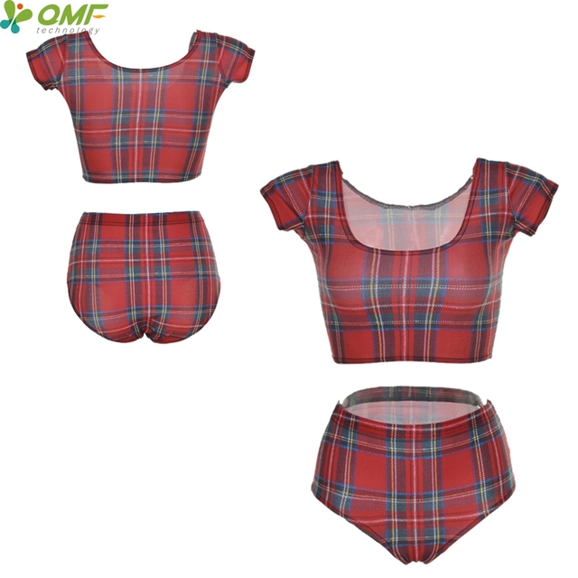 208269dcd31c7 Red Tartan Biquinis Brasileiro Check Pattern Plaid Bikini Brazilian Sexy Crop  Top Swimsuit Short Sleeve Women Swimsuits 2 Pieces