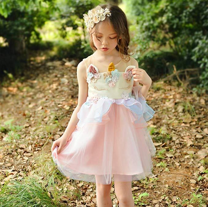 Fancy Kids Unicorn Tulle Dress for Girls Embroidery Ball Gown Baby Flower Girl Princess Dresses Wedding Party Costumes Unicornio children girls christmas dress kids tulle new year clothes fancy princess ball gown baby girl xmas party tutu dress costumes