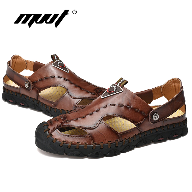 Image 5 - 2019 Fashion Genuine Leather Men Sandals Summer Shoes Lightweight Comfort Men Beach Sandals Leather Men Shoes Plus Size-in Men's Sandals from Shoes