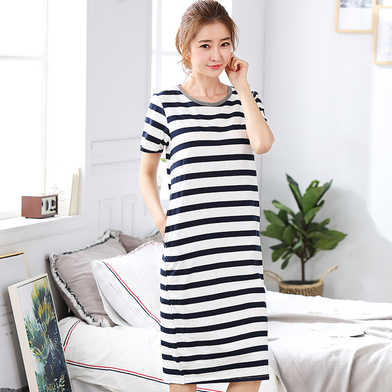 For Women Ladies Black White Classic Stripe   Nightgowns     Sleepshirts   Casual Summer Sleepwear Nightdress FS0685
