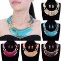 Fashion Jewelry Enthic Resin Choker Statement Bib Pendant Necklace Earrings Set