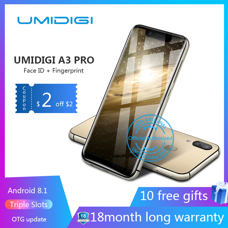 """UMIDIGI A3 Pro 5.7\""""19:9 Full Screen smartphone 3GB+32GB Android 8.1 12MP+5MP mobile phone Dual 4G GSM+FHD+OTG unlocked cell phon"""