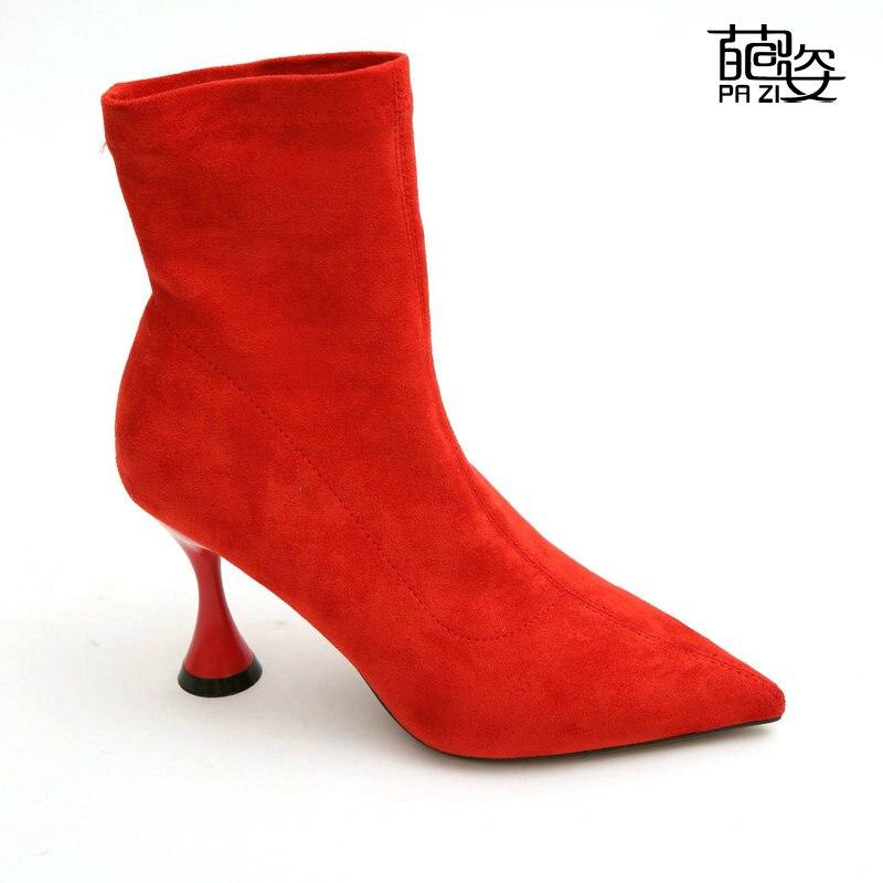 Partito A Moto Scarpe Nero Stivali Rosso Donna Antiscivolo Tacchi 1WnCqZ 7eb2581c837