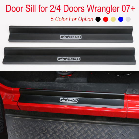 Aluminum Door Sill for Jeep Wrangler JK 2/4 Doors 2007+ Black Red Golden Blue Silver Foot Step Strip Board Scratch Proof Cover silver aluminum car hawse fairlead for jeep wrangler 2007 2016