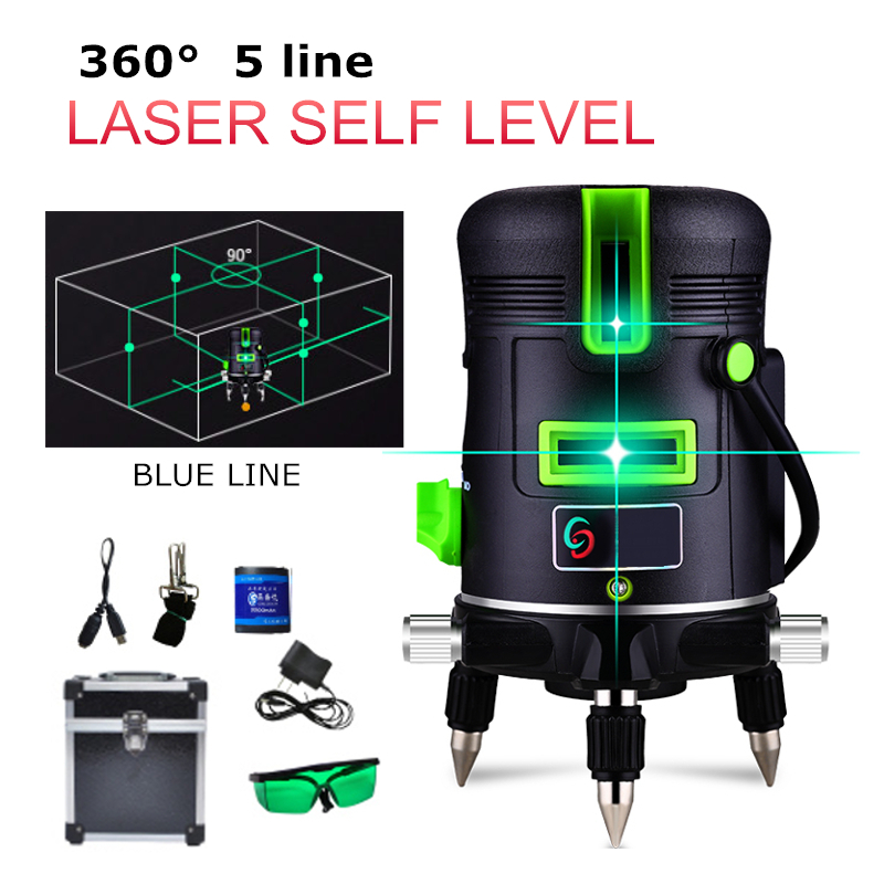 5 Lines Blue Cross Lines Green 360 Degree 3D Rotary Laser Level Receiver Automatic Self Leveling Vertical Horizontal DIY Home diy earphone snakeskin lines