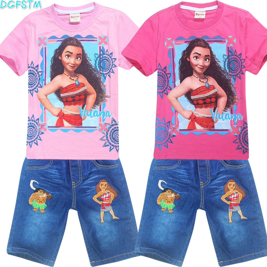 Childrens wear 2017 autumn summer baby girl Vaiana sports leisure suit Moana T-shirt +jeans trousers two pcs Childrens clothes ...