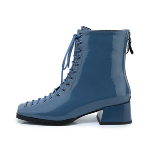 Image 3 - FUN VILLE New Fashion Autumn Winter Women Ankle Boots Square Toe Genuine Patent Leather Boot Sexy Ladies Flats shoes Lace up
