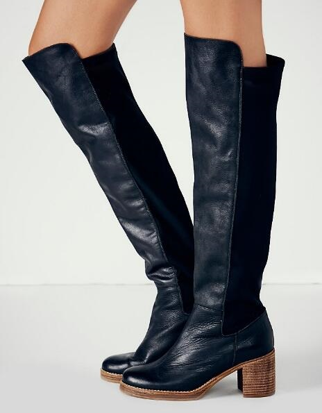 Womens Cowboy Boots Black Leather Thick Heels Women's Winter Boots Round Toe Slim Fit Over The Knee Boots Fashion Long Boots