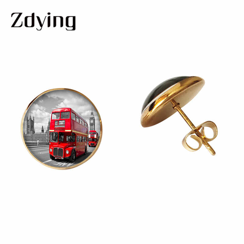 ZDYING Vintage Red London Bus Stud Earrings Glass Cabochon Retro Bus Pattern Glass Dome Earring Metal Alloy Ear Jewelry BU002