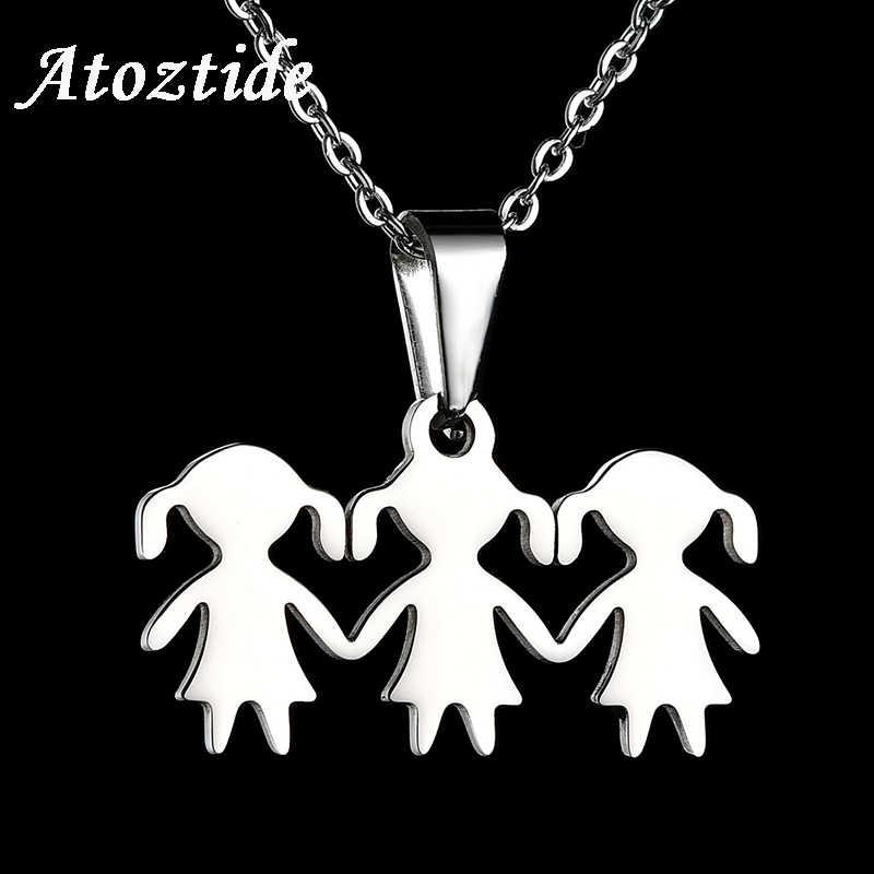Atoztide Indah Stainless Steel Kartun Gadis Keluarga Kalung Untuk Wanita Warna Emas 3 Anak Perempuan Gambar Rantai Kalung Aliexpress
