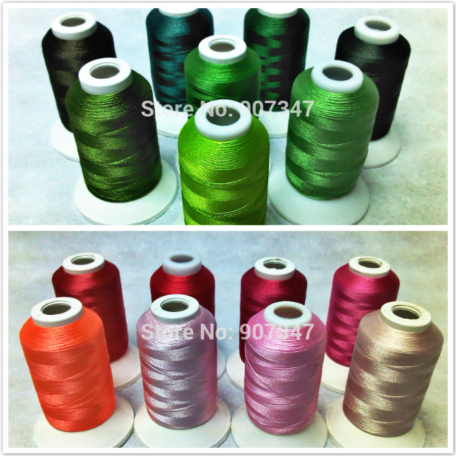 Simthread Green Series + Pink Series Polyester Computer Machine Embroidery Thread Filament 500m*16 Spools ,Super Sheen 120d/2