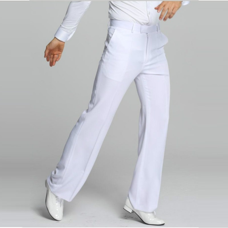 Latin Dance Pants Male White Plus Size Cambric Pants Fabrics Men Ballroom Stage Modern Chacha Trousers Waltz Trousers B-6971