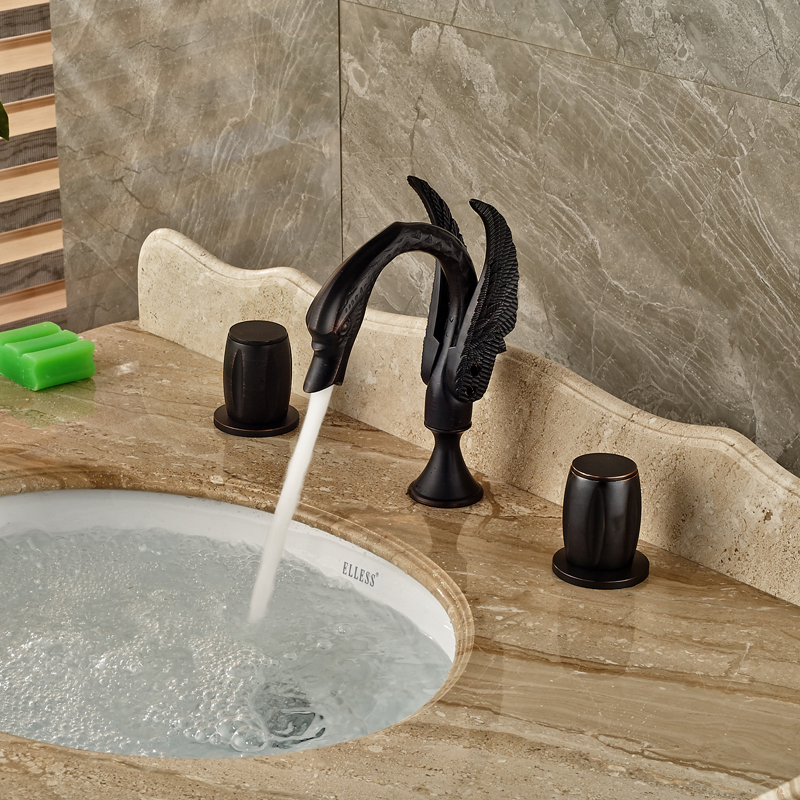Oil Rubbed Bronze Dual Handle Basin Faucet Widespread 3 Holes Bathroom Tub Sink Mixer Taps luxury widespread 3 holes basin faucet tap deck mount oil rubbed bronze bathroom mixer taps