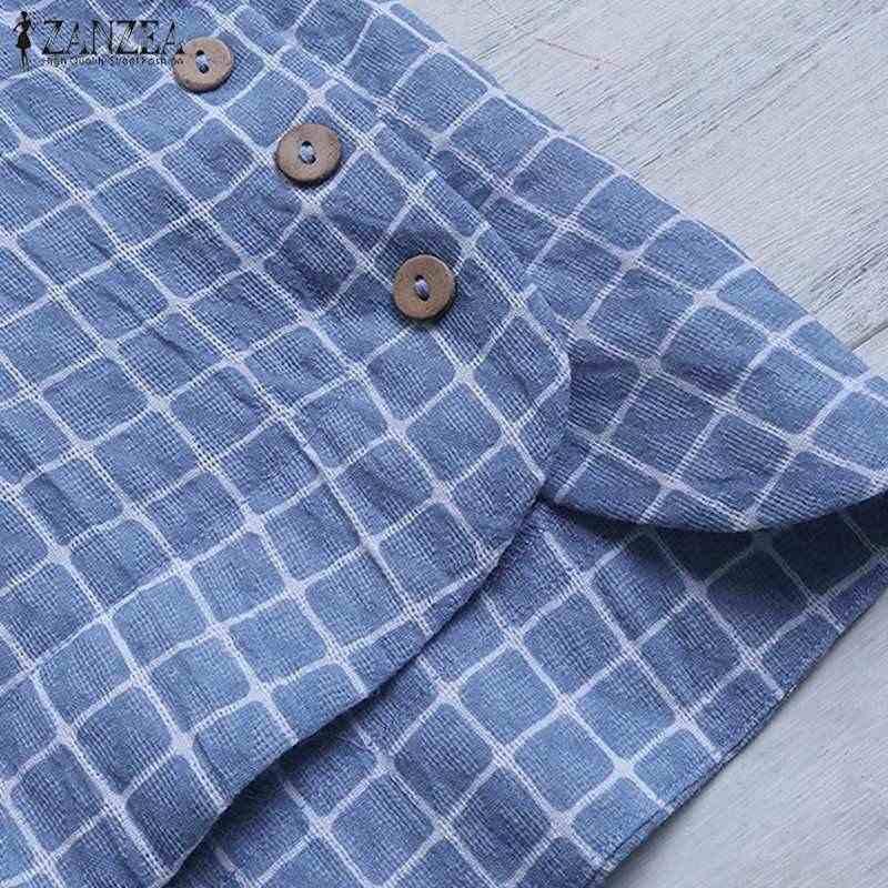 ZANZEA 여성 긴 소매 체크 무늬 블라우스 봄 빈티지 셔츠 여성 느슨한 작업 Blusas Robe Femme Chemise 캐주얼 튜닉 탑스