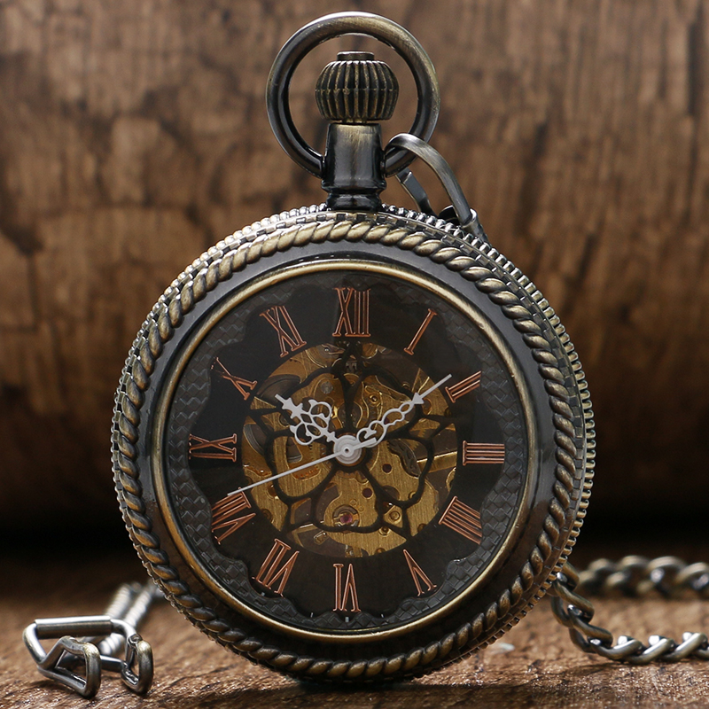 Fashion Bronze Hollow Glass Case With Roman Number Dial Mechanical Pocket Watch With Chain Best Gift For Men Women gorben luxury brand watch gold case hollow pocket watch men roman numeral quartz watch women pendant waist chain gift box