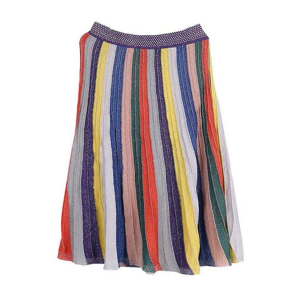 Runway Colorful Striped Skirt 2018 New Summer Bling Skirt Women Knit Skirt Rainbow Faldas Saia Jupe Multi-Color Skirt Skinny