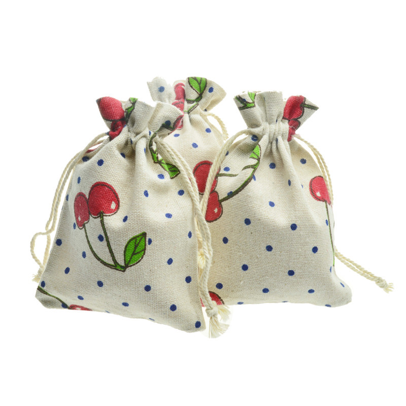100 Pcs Lot 10x14cm Print Drawstring Cotton Recycable Jewelry Candy Gift Packing Pouches Bags Organizer Bag Pouch in Jewelry Packaging Display from Jewelry Accessories