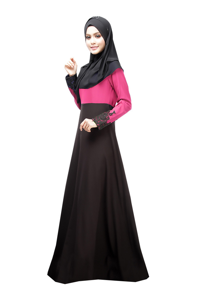 4564abbc98 Muslim Dress Lace Patchwork Abaya Women Long Dress Elegant Arab ...
