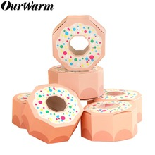 OurWarm 20pcs Pink Donut Candy Box Hexagon Boxes for Party Kids Birthday Decor kraft with Window