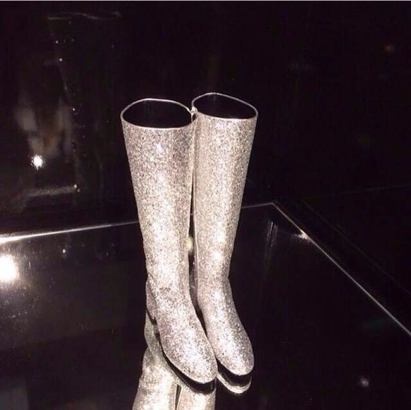 New Arrival Round Toe High Quality Leather Sequined Fashion Boots Zipper Glitter Cover Knee High Square Heel Winter Boots Woman 2017 new arrival winter plush genuine leather basic women boots knight zipper round toe low heel knee high boots zy170904