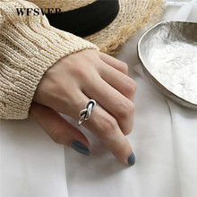 WFSVER korea style 925 sterling silver fashion ring for women twist geometry opening adjustable rings fine jewelry present wfsver ins minimalism smooth wide face opening adjustable rings for women 100% top quality 925 sterling silver fashion jewelry
