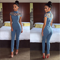 2016 Hot Sale New Arrival Women Jumpsuit and Rompers for Women Hollow Out Cross Turtleneck Slim Bodycon Jumpsuit Sexy Overalls