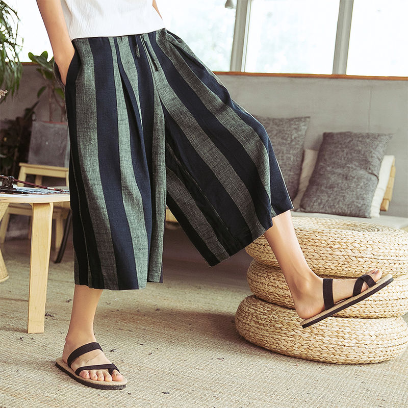 Men Stripe Harem Pant Male Cotton Linen Casual Loose Skirt Trousers Thailand Streetwear Travel Wide Leg Pant