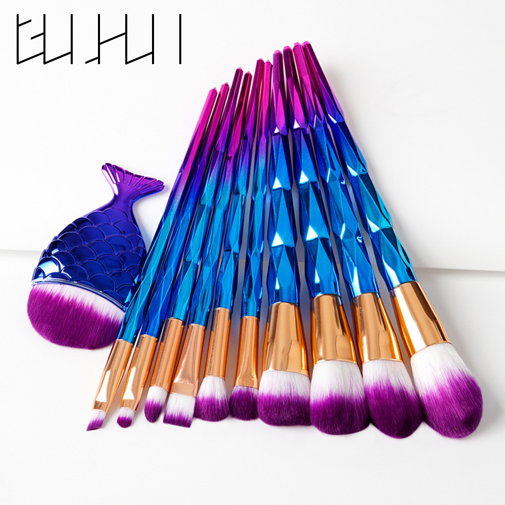 11Pcs Diamond Handle Makeup Brushes Set Mermaid Fishtail Powder Blush Contour Foundation Powder Make Up Brushes Cosmetic Tools new 11pcs cosmetic eyeshadow foundation concealer bamboo handle makeup brushes set p4 m3