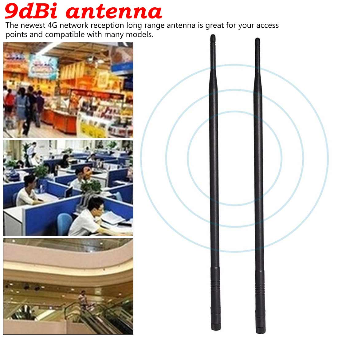 Wifi Antenna 2.4G Antenna 9DB Straight Rod Antenna Foldable Cost-effective Factory Direct Supply