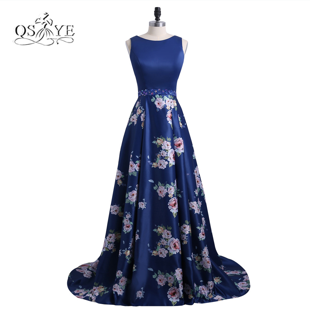 2018 New Fashion 3D Floral Flowers Pattern Print Prom Dresses Robe de Soiree Open Back Formal Evening Party Gown Custom Made