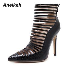 Aneikeh 2018 Sexy Women Boots High-Heeled Snakeskin Leather Ankle Boots For Women Pointed Toe Hollow Out Back Zipper Female Boot(China)