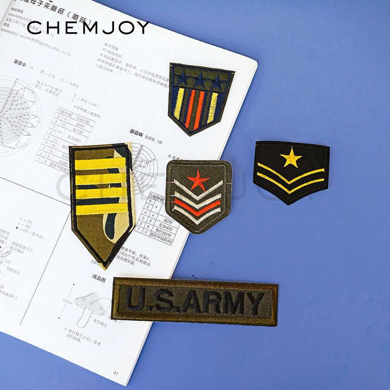 Quân sự Thêu Ngụy Trang Vá Sắt trên Army Star Chevron Rank Phù Hiệu Đính Dán Quần Áo Đồng Phục Chiến Thuật Vá