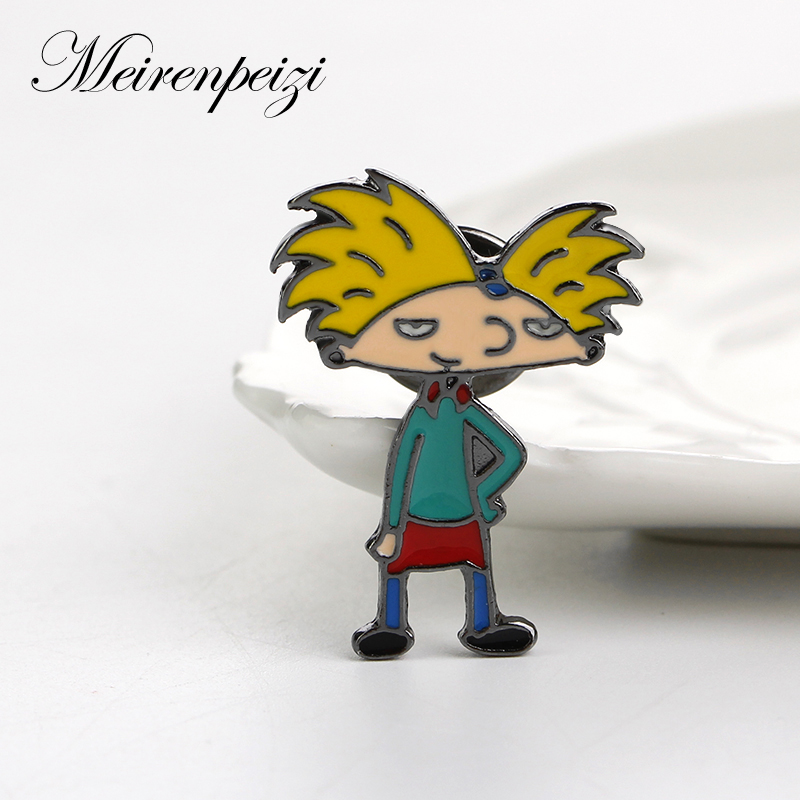 Cute Enamel Pin Big-haired Boy Cartoon Character Soft Enamel Pins Brooch Badge For Jacket Bag Cloth Jewelry Accessories