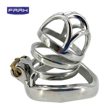 FRRK  Penis ring  Male Stainless Steel Chastity Device Belt Bird Metal Cage Cock Lock Restraint Ring Sex Toy for Men все цены
