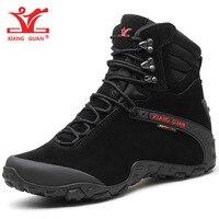 XIANG GUAN Men Hiking Boots Cow Leather Women Trekking Shoes Black Waterproof Sports Climbing Outdoor Hunting