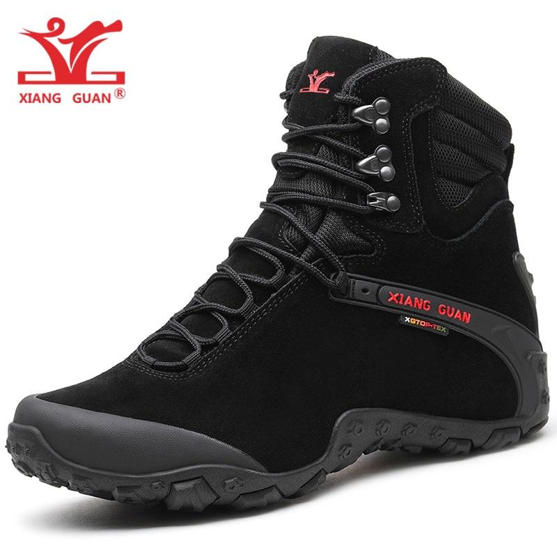 XIANG GUAN Men Hiking Boots Cow Leather Women Trekking Shoes Black Waterproof Sports Climbing Outdoor Hunting Walking Sneakers 8