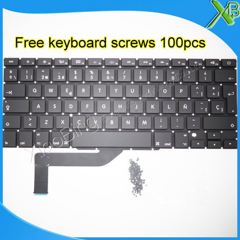 "Brand New SP Spanish keyboard+10keyboard screws For MacBook Pro Retina 15.4 inch"" A1398 2013-2015 Years"""