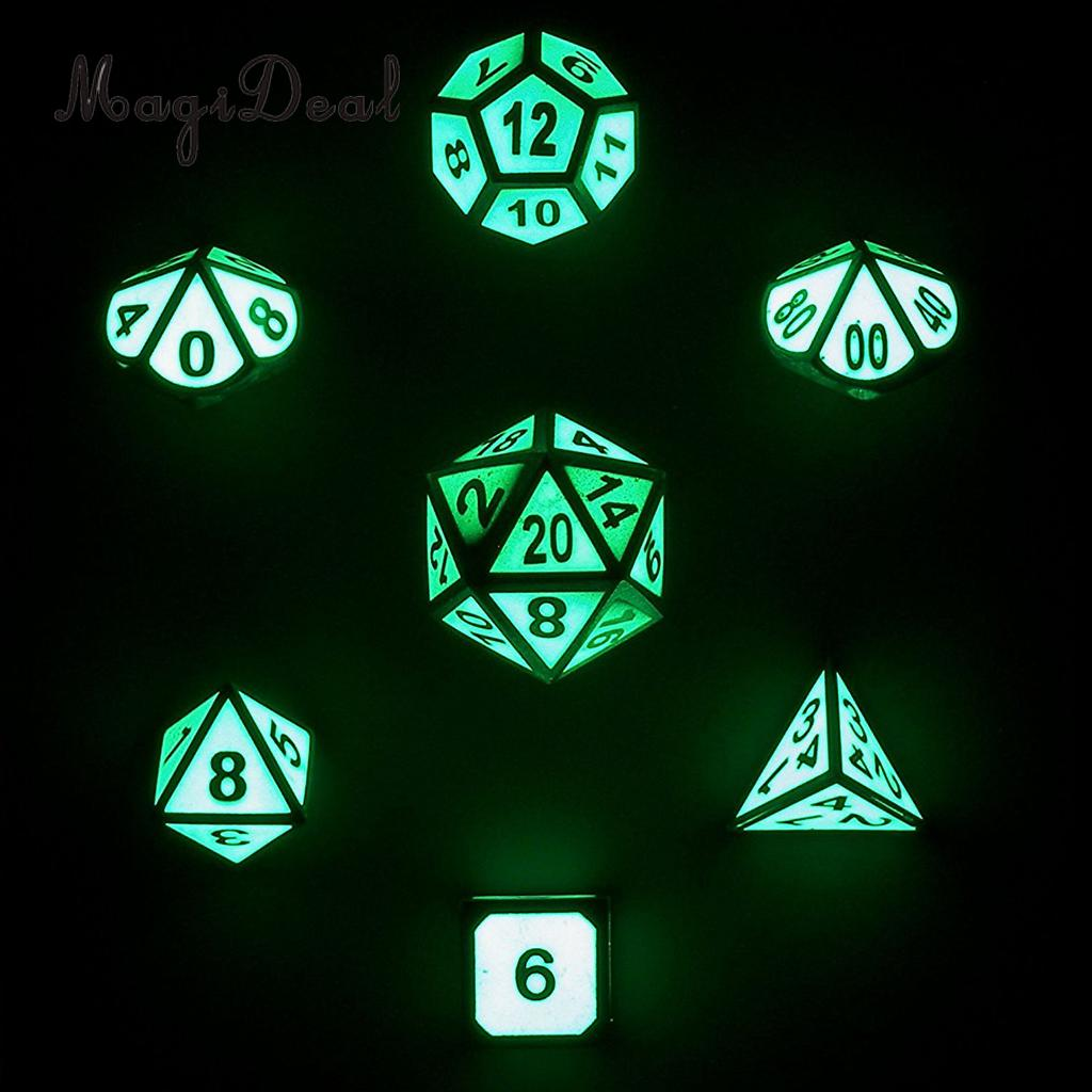 MagiDeal Hot Sale Zinc Alloy Glow In The Dark 7 Dice Set D4-D20 for Funny D&D RPG Games Dungeons Dragons Dice DND MTG Games Gift ...