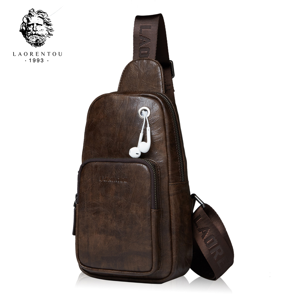 LAORENTOU Brand Men Chest Bags Leather Shoulder Messenger Bags Casual Crossbody Bag Student Bag