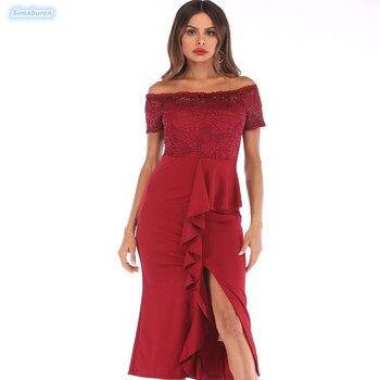 a99c3168b5 Primavera Verano Split Vestido Mujer manga corta ahuecado hacia fuera Sexy  Maxi rojo encaje Vestidos mujer elegante fiesta negro Vestidos