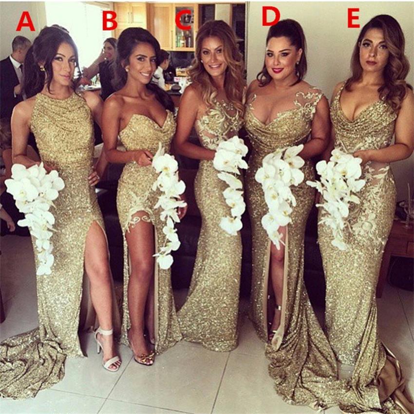 Robes de demoiselle d'honneur de luxe brillant 2019 Sexy chérie sans manches cinq Styles or Sequin longues robes de demoiselle d'honneur robes longo