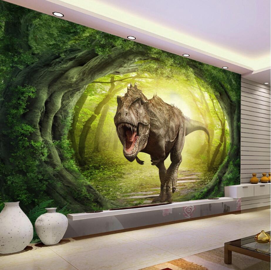 Custom Wallpaper 3d Dinosaur World Landscape Forest Tv