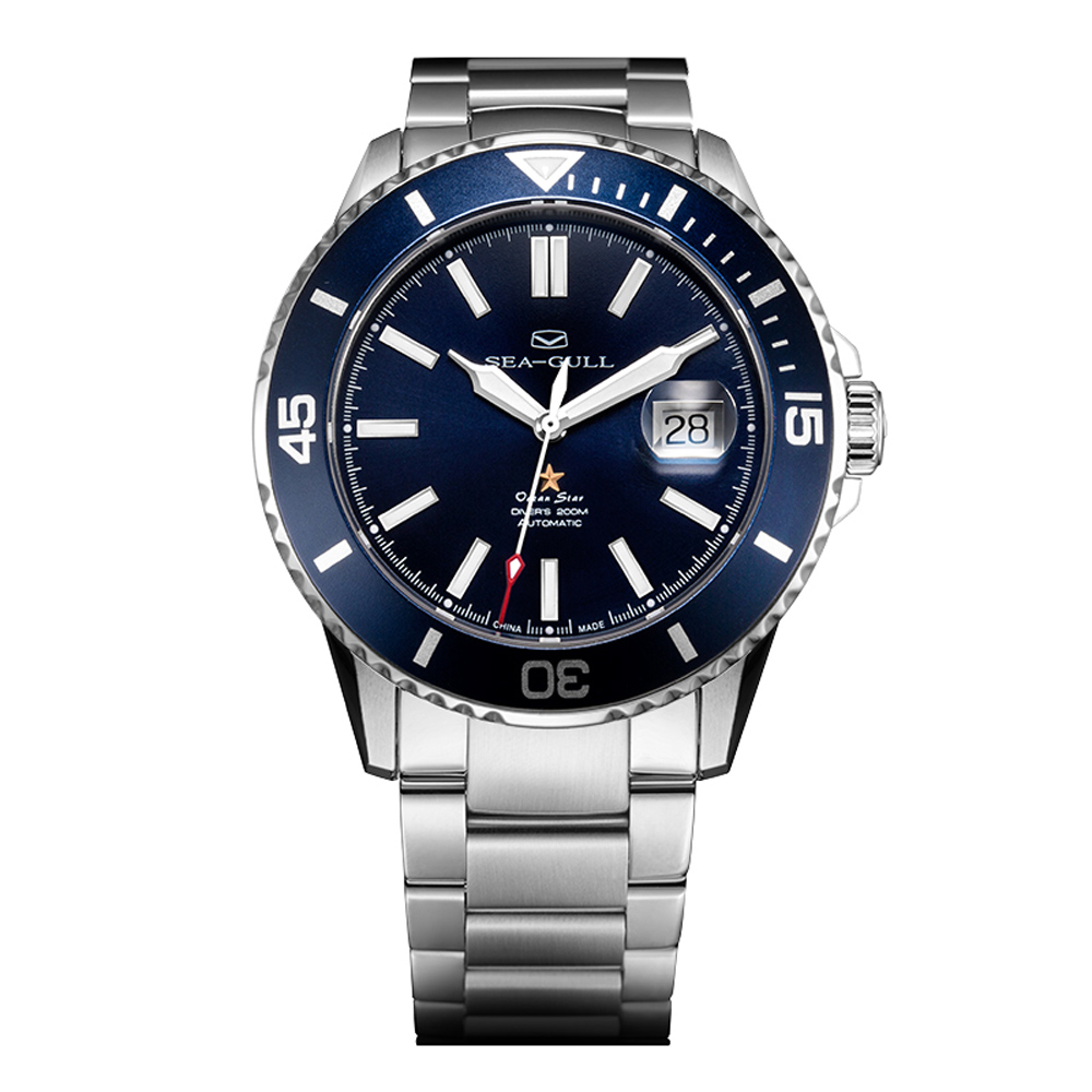 Reloj seagull 816.523 Ocean Star-viento mecánico automático 20Bar hombres de buceo natación deporte reloj de esfera azul 816.523