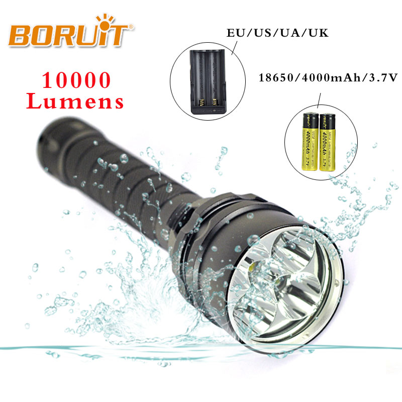 BORUIT Diving Flashlight 5x XML L2 LED Torch 10000LM Underwater 80M Waterproof Diving Flash Light Battery charger Free shipping new 6000lm underwater diving flashlight torch 3x xml l2 led light waterproof linterna 3 l2 led flash light 26650 charger